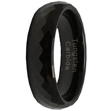 6MM Black Tungsten Carbide Mens Wedding Band Ring