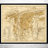 Old Map of Prague 1882  Czech Republic