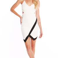 CUT OUT CONTRAST DRESS - WHITE