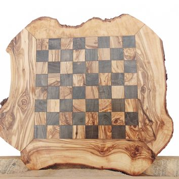 Olive Wood Chess Board Set Game, Engraved Unique Olive Wood Chess Set, Dad gift
