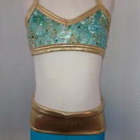 Teal High Waist Shorts with Shiny Gold/Sea Green Waist and Matching Textured Sea Green Sequined Lace Adjustable Bra Top