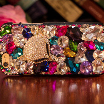 New Bling Full Crystal Fox Head Cell Phone Case for galaxy S6 S7 for iphone 5 5s 6 6s plus SE and more