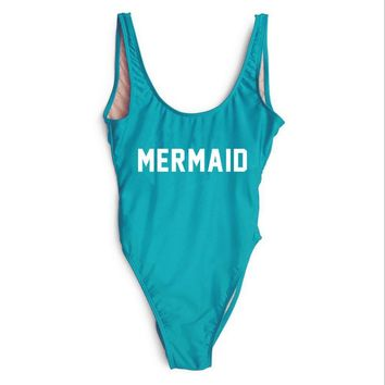 Mermaid Text Print - Women's Sexy Sporty One-Piece Swimsuit - Low Back, High-Cut