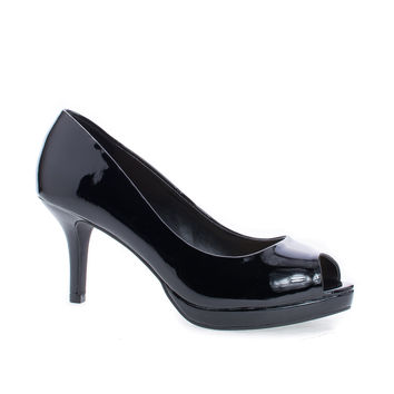 Walter Black Patent By City Classified, Peep Toe Extra Comfort Insole Stiletto Heel Classic Pumps