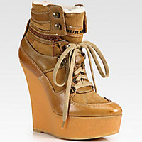 Burberry - Lace-Up Leather, Suede and Shearling Lace-Up Ankle Boots - Saks Fifth Avenue Mobile