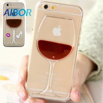 3D Hot Red Wine Glass Lips Liquid Quicksand Transparent Phone Case Cover For iPhone X XS 4 5 5S SE 6 6S 7 8 PLUS Hard Back Cover