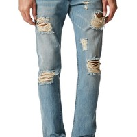 Kennedy Destroyed Wash Jeans - Mens Jeans - Blue