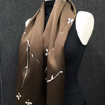 Garden of Chocolate - Hand Painted Silk Scarf