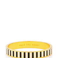 Kate Spade Rule The Roost Hinged Idiom Bangle Black/White ONE