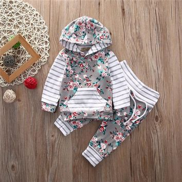 Floral Striped Baby Girls Hoodies Sets Long Sleeve Tops + Casual Cotton Pants 2PCS Outfits Set