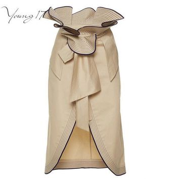 ICIK4S Young17 Fashion Stylish Ruffles high waisted Pencil Skirt Split Up Knee Length Ladies Skirts Brown Skirt Summer Women's Skirts
