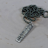 Rock and roll sterling silver bar necklace with hammered guitar