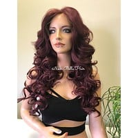 Burgundy Red SILK TOP Deep Free Parting Swiss Lace Front Wig - Jodi
