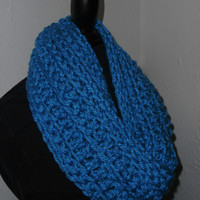 Blue Infinity Scarf Cowl Long Handmade Crochet Bulky Acrylic Yarn Electric