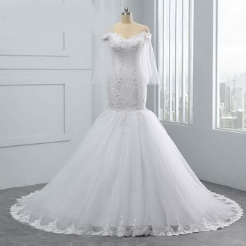 Cap Sleeve Pure White Crystal Beading Mermaid Wedding Dress  New Design  Bride Gown Wedding Dresses