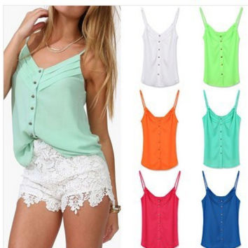 6-color Sweets Ladies Sexy Chiffon Tops Camisole Blouse [4919489796]