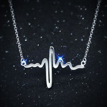 "Real. 925 Sterling Silver Lifeline Pulse &Open Heart Pendant Heartbeat Necklace chain 18"" GTLX495"