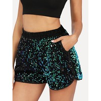 Iridescent Sequin Dolphin Hem Shorts