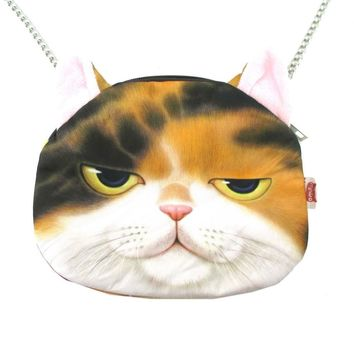 Kitty Cat Head Shaped Graphic Print Fabric Cross Body Sling Bag | Gifts for Cat Lovers