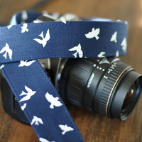 Put a Bird on It - Camera Strap - dSLR Camera Strap, Digital Camera Strap - Navy Blue with White Birds