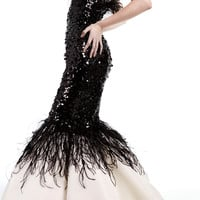 Strapless Mermaid Gown With Sequin And Feather Embroidery   Moda Operandi