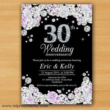 Anniversary Invitation, Wedding Anniversary Invitation 10th 20th 30th 40th 50th 60th 70th glam glitter design Rhinestone diamond - card 593