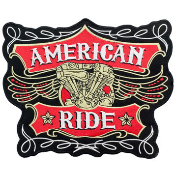 LARGE BACK PATCH AMERICAN RIDE PATCH FOR BIKER MOTORCYCLE VEST JACKET RED NEW