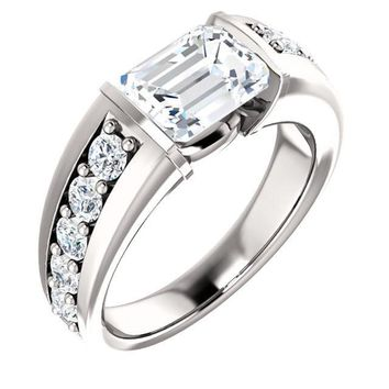 1.5 Ct Emerald Accented Diamond Engagement Ring 14k White Gold