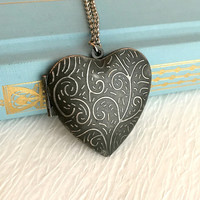 Large Silver Heart Locket Necklace, engraved vintage antique pendant birthday anniversary romantic picture gift gifts for her valentines