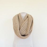 XL Big Chunky Infinity Scarf Loop Circle Thick Knit Scarf Shawl Hood Dark Beige / Women's Infinity Scarf / Men's Infinity Scarf