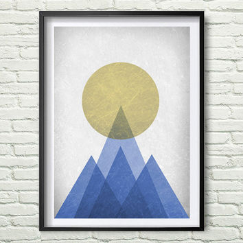 Mountain Print, Blue Triangle Wall Art Print, old paper texture, Geometric Mountains, Blue Print, Green Blue Mountain Print *182*