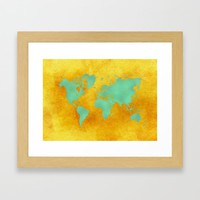 world map gold green #worldmap #map Framed Art Print by jbjart