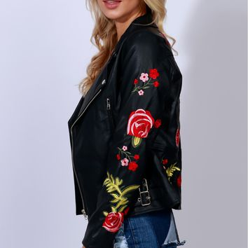 Rock N' Roses Embroidered Vegan Leather Moto Jacket Black