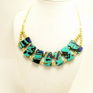 Polymer Clay Statement Necklace, Turquoise and Gold, Handmade