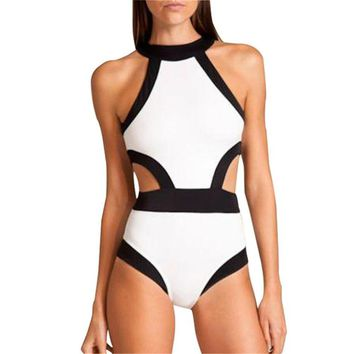 Lukitty Women's One Piece High Neck Cut Out Bikini Bathing Suits Swimwear L White