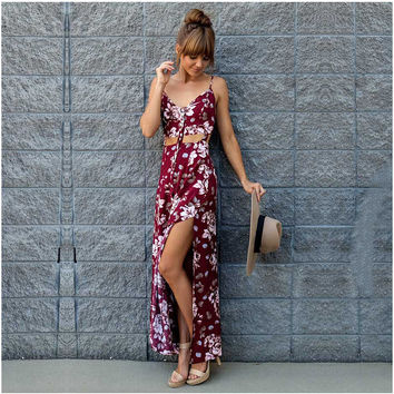 Print Prom Dress Sexy Split V-neck Spaghetti Strap Vacation Dress One Piece Dress [4970284548]