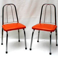 Orange Vinyl and Chrome Childrens Chairs x 2