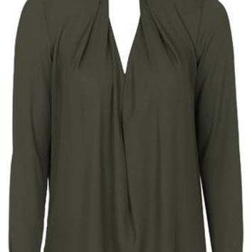 Drape Neck Blouse - Khaki