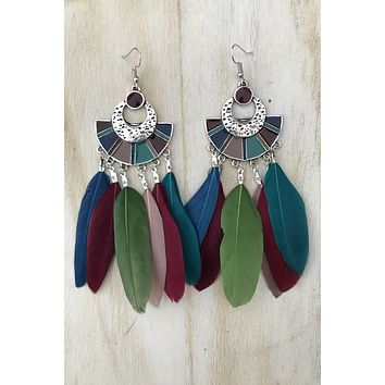 Colorful Feather Earrings #H1039