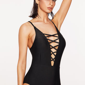 Black Plungy Criss Cross Neck One Piece Swimwear