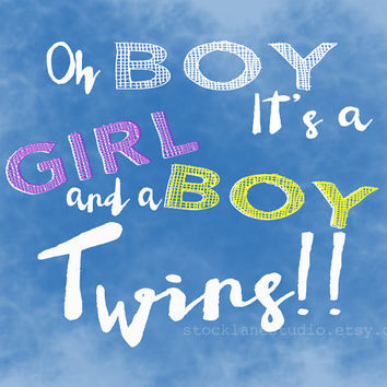 Twins printable sign, blue digital birth announcement it's girl and boy congratulations new baby pregnancy children's decor diy baby shower