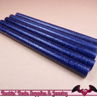 5 Glitter Dark Blue Mini Hot GLUE STICKS / Deco Sauce / Fake Icing / Nail Art Stick / Faux Wax Seals