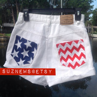 Vtg High Waisted Shorts US FLAG Chevron Stars and Stripes Patriotic America USA Fourth of July
