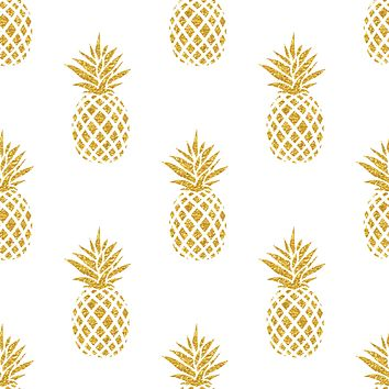 Abstract Golden Pineapple Fruit Multicolored Wallpaper Reusable Removable Accent Wall Interior Art (wal043)