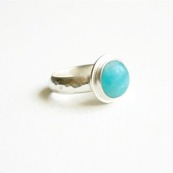 Turquoise Ring, Hammered Silver band, Amazonite cabochon, Rustic bezel set, Silversmith, Artisan Jewelry