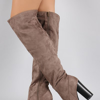Bamboo Over the Knee Platform Chunky Lug Boots