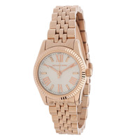 Michael Kors MK3230 Women's Petite Lexington Mini-Size White Dial Rose Gold Steel Watch