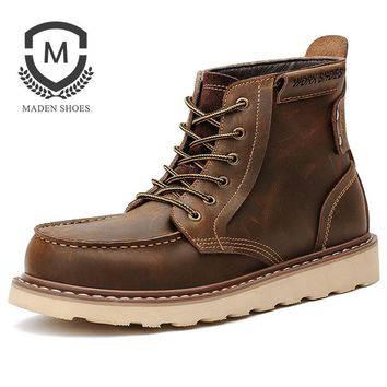 Maden Brand 2017 New Vintage Men Boots High quality Handmade Non-slip Tooling boots Winter Fashion Casual Shoes Tactical Boots