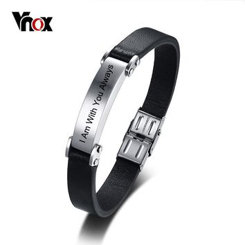 Vnox 11mm Black Genuine Leather Bracelet for Men Customize ID Bangle Stainless Steel Casual Simple Male Jewelry Adjustable
