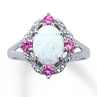 Lab-Created Opal Ring Lab-Created Sapphires With Diamonds
